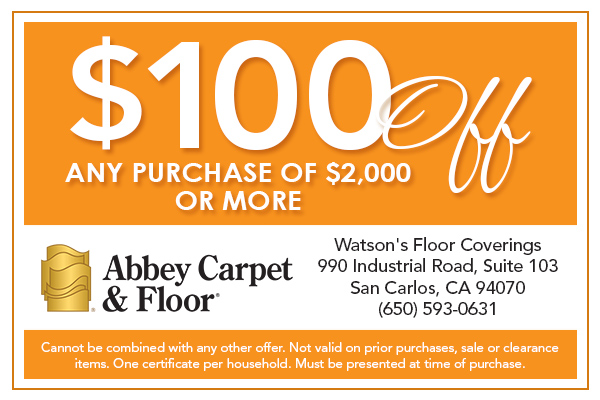 $100 Off any purchase of $2,000 or more at Abbey Carpet & Floor Watson's Floor Coverings.