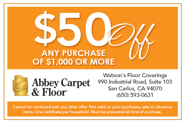 $50 Off any purchase of $1,000 or more at Abbey Carpet & Floor Watson's Floor Coverings.